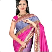 Saree With Short Sleeved Blouse