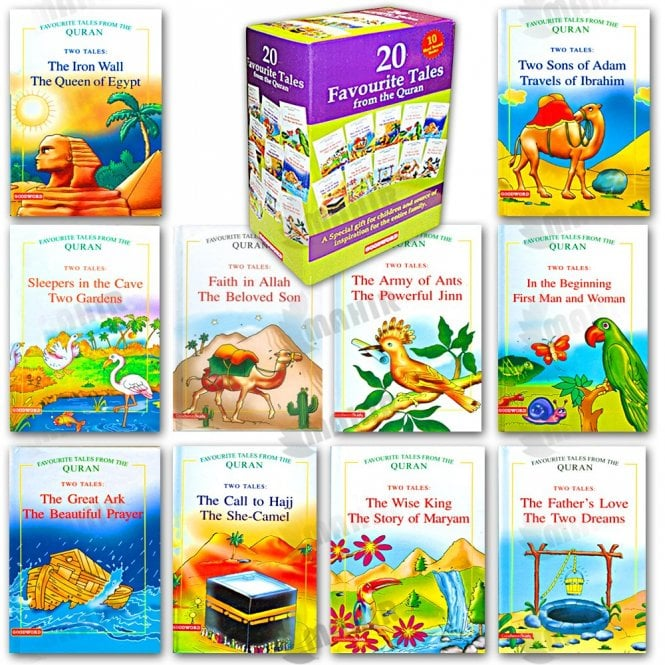 Kids Story Book 20 Favourite Tales from the Quran Gift Box (Ten Hard Bound book)[MLB 896]