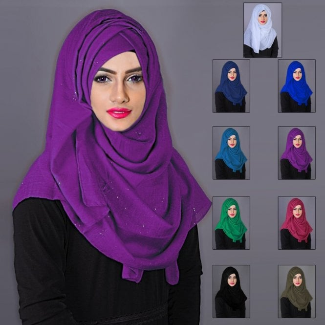 Jilbab/Abaya Scarf ML 6188 Scarves with Golden Glitters-9 Colours