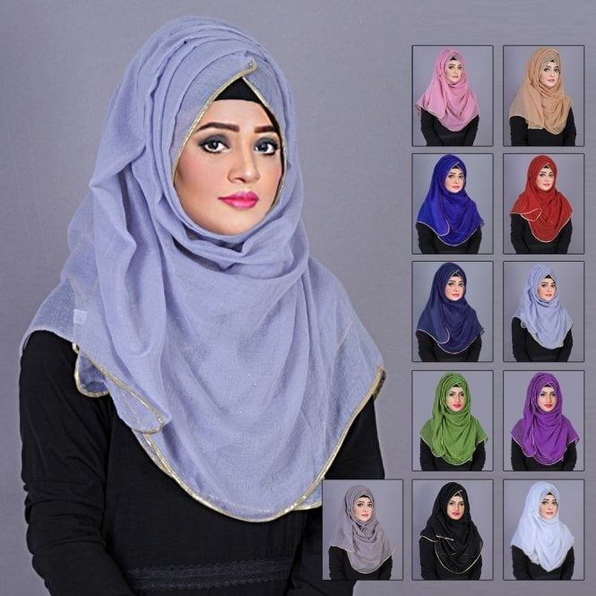 Jilbab/Hijab Scarf ML 6189 Scarves with Golden Glitters and Border -12 Colours