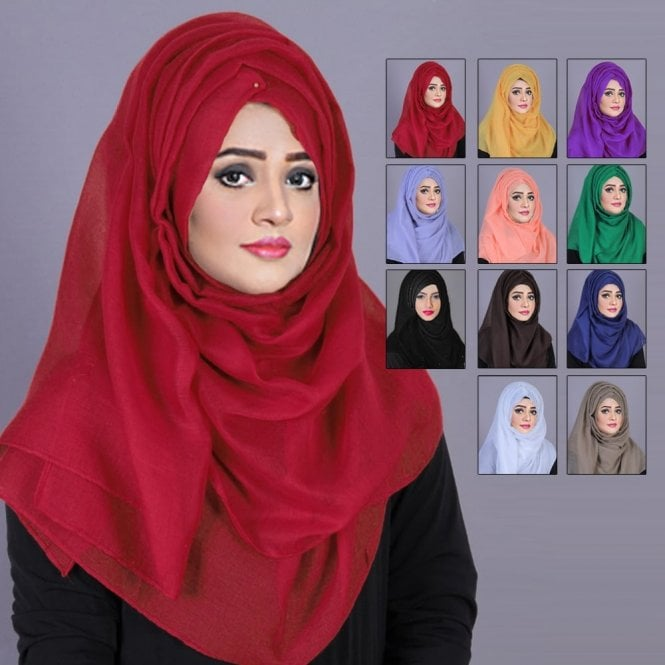 Jilbab/Abaya Scarf ML 6186 Plain Scarves-11 Colours
