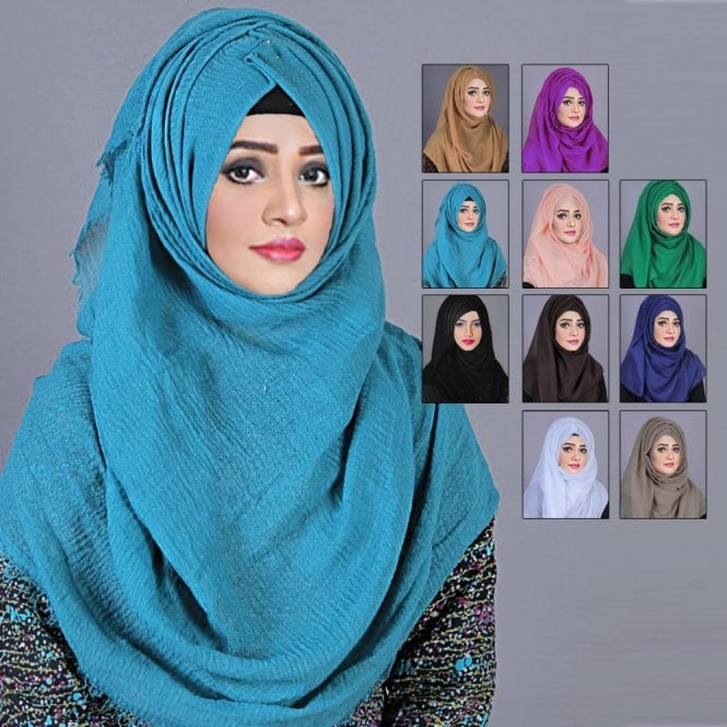 Jilbab/Abaya Scarf ML 6187 Crinkled Viscose Scarves-10 Colours