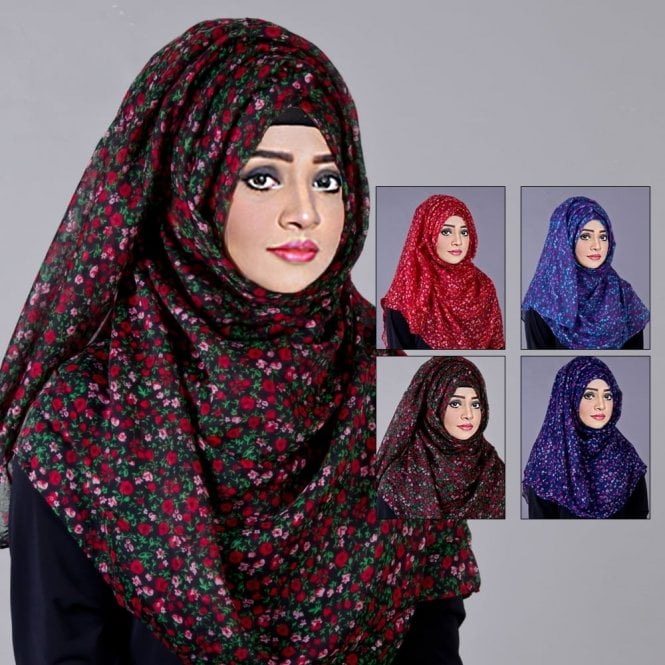 Jilbab/Hijab Scarf ML 6199 Floral Printed-4 Colours
