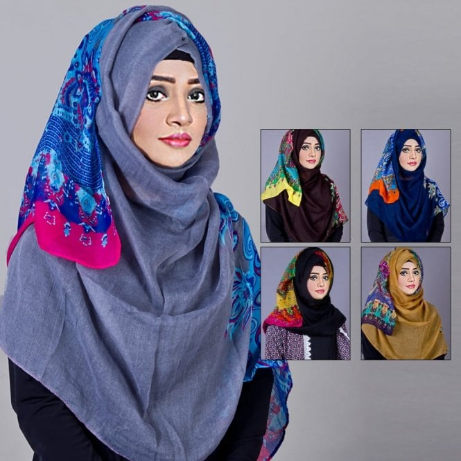 Jilbab/Abaya Scarf ML 6201 Floral Printed-5 Colours