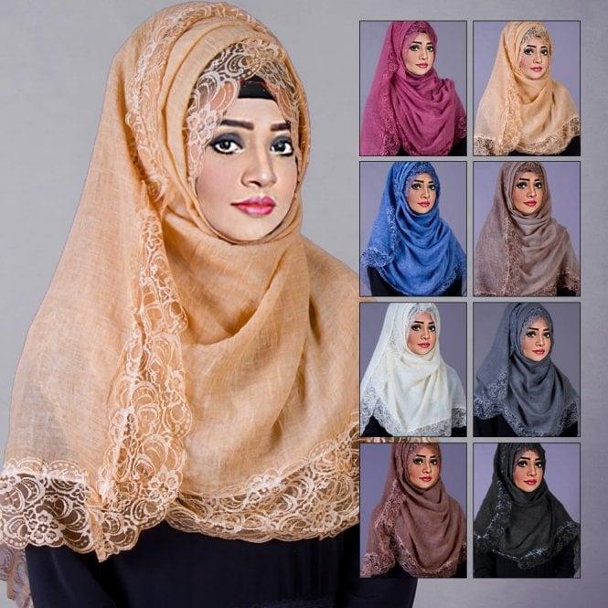 Jilbab/Abaya Scarf ML 6198 Tassel Laced Scarves-8 Colours