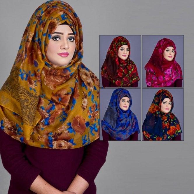 Jilbab/Abaya Scarf ML 6202 Floral Printed-5 Colours