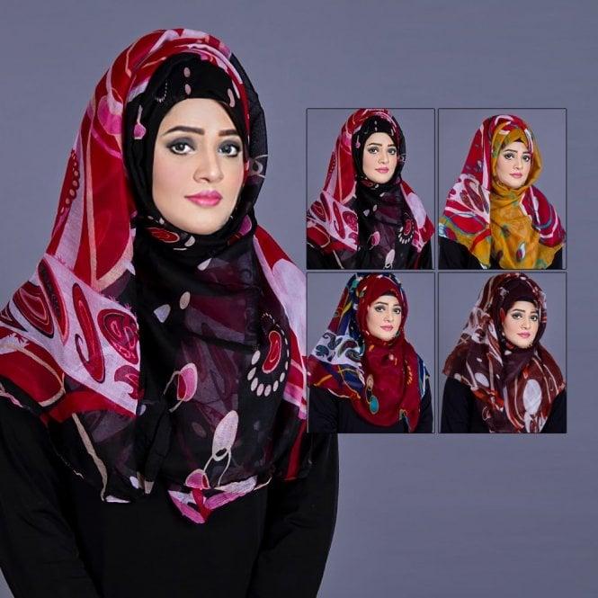 Jilbab/Abaya Scarf ML 6203 Floral Printed-4 Colours