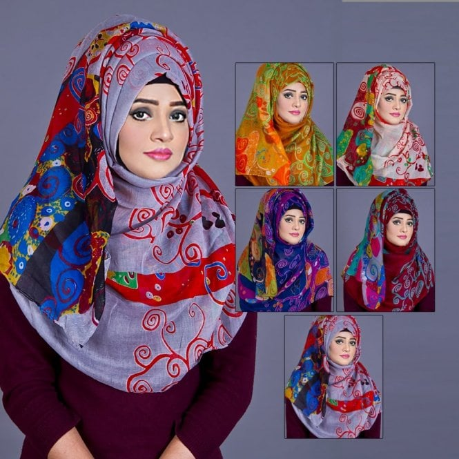 Jilbab/Abaya Scarf ML 6204 Floral Printed-5 Colours