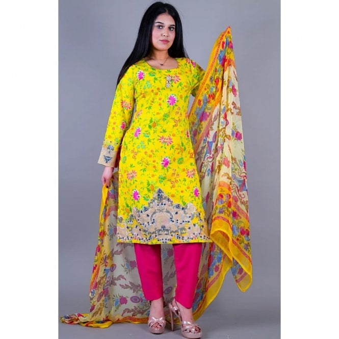 Salwar Suit ML 12121 Lawn Suit with Net Dupatta