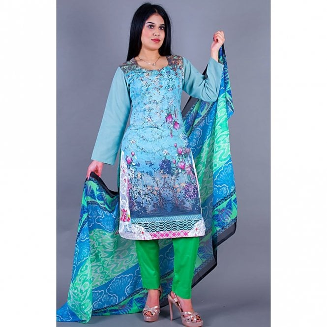 Salwar Suit ML 12156 Lawn Suit with Chiffon Dupatta