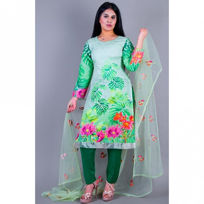 Salwar Suit ML 12149 Lawn Suit with Net Dupatta