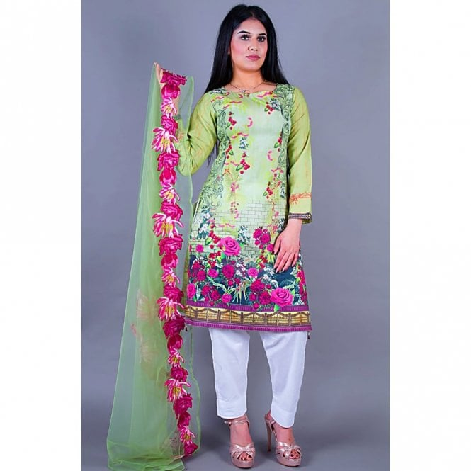 Salwar Suit ML 12131 Lawn Suit with Net Dupatta