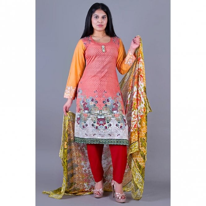 Salwar Suit ML 12126 Lawn Suit with Net Dupatta