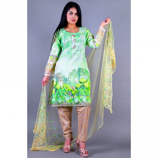 Salwar Suit ML 12153 Lawn Suit with Net Dupatta