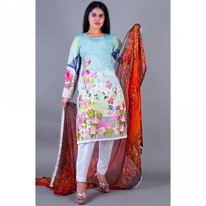 Salwar Suit ML 12137 Lawn Suit with Silk Dupatta