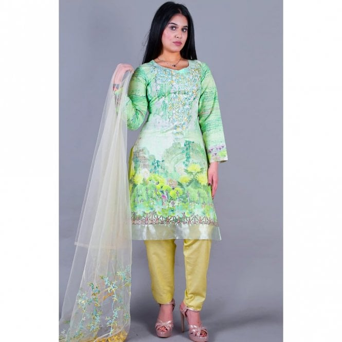 ML 12123 Lawn Suit with Net Dupatta