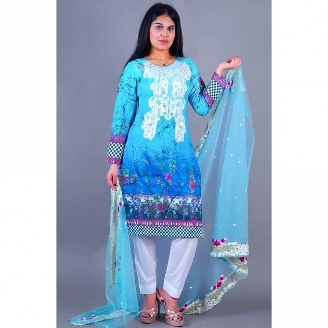 Salwar Suit ML 12135 Lawn Suit with Net Dupatta