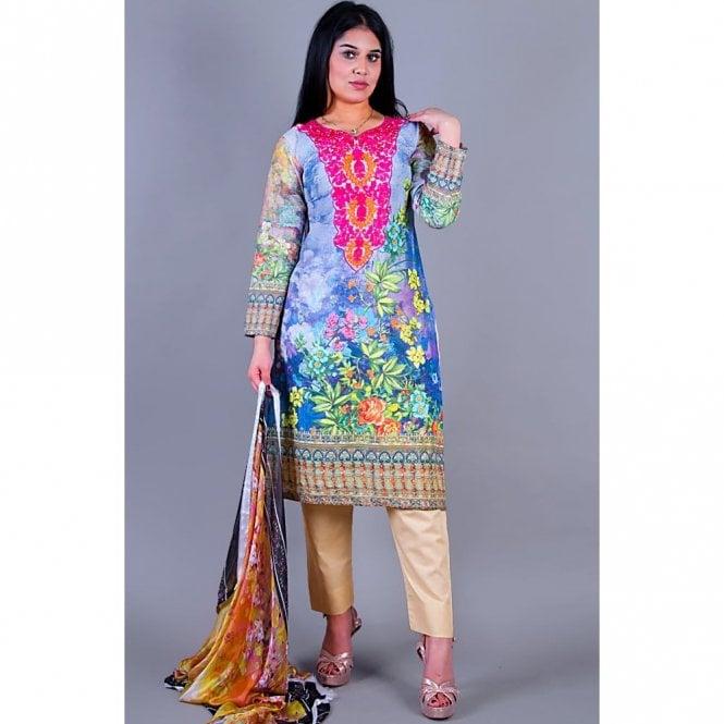 Salwar Suit ML 12141 Lawn Suit with Silk Dupatta