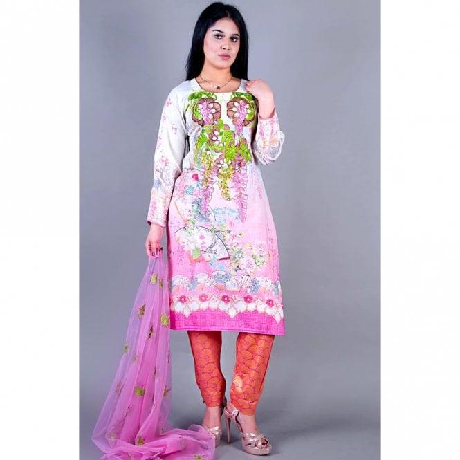 Salwar Suit ML 12133 Lawn Suit with Net Dupatta
