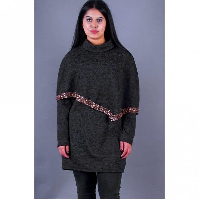ML 31511 Collard Neck Wool Poncho