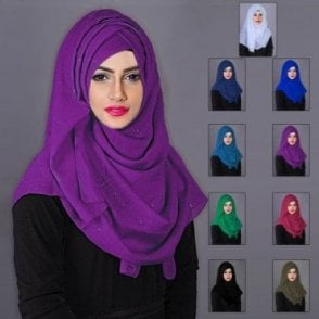 ML 6188 Scarves with Golden Glitters-9 Colours