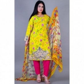 ML 12121 Lawn Suit with Net Dupatta