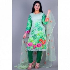 ML 12149 Lawn Suit with Net Dupatta