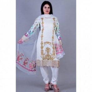 ML 12138 Lawn Suit with Net Dupatta