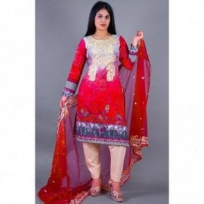 ML 12140 Lawn Suit with Net Dupatta