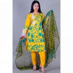 ML 12127 Cotton Suit with Chiffon Dupatta