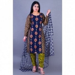 ML 12122 Cotton Suit with Net Dupatta