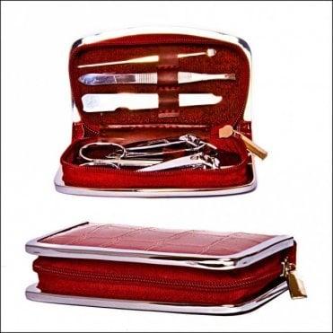 K-172  6 piece Manicure Set in Leather Case