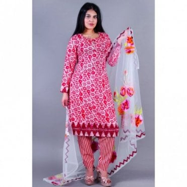 ML 12136 Lawn Suit with Net Dupatta