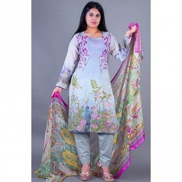 ML 12139 Lawn Suit with Silk Dupatta