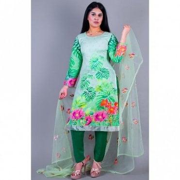 ML 12149 Lawn Suit with Net Dupatta