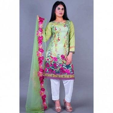 ML 12131 Lawn Suit with Net Dupatta