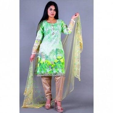 ML 12153 Lawn Suit with Net Dupatta