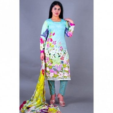 ML 12128 Lawn Suit with Silk Dupatta