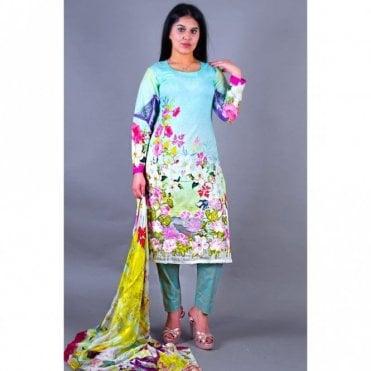 ML 12128 Lawn Suit with Silk Dupatta