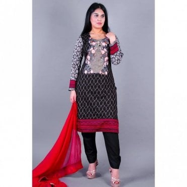 ML 12145 Lawn Suit with Chiffon Dupatta