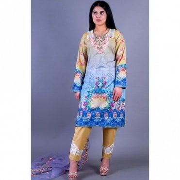 ML 12151 Lawn Suit with Net Dupatta