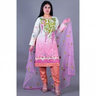 ML 12144 Lawn Suit with Net Dupatta