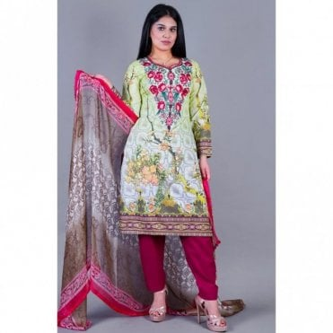 ML 12147 Lawn Suit with Chiffon Dupatta