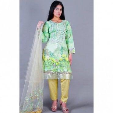 ML 12123 Lawn Suit with Net Dupatta