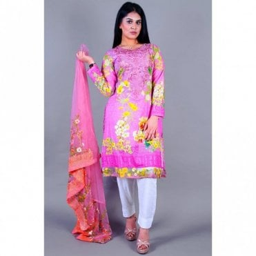 ML 12124 Lawn Suit with Net Dupatta
