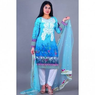 ML 12135 Lawn Suit with Net Dupatta