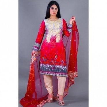 ML 12140 Lawn Suit with Net Dupatta