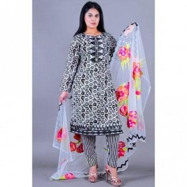 ML 12132 Lawn Suit with Net Dupatta