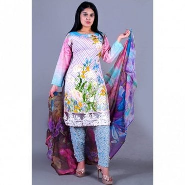 ML 12142 Lawn Suit with Chiffon Dupatta