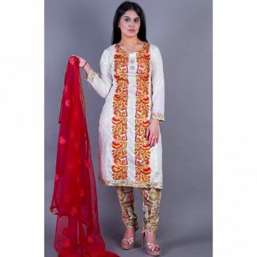 ML 12146 Cotton Suit with Net Dupatta